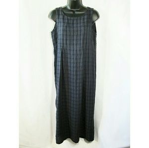 Eileen Fisher plaid sleeveless maxi dress